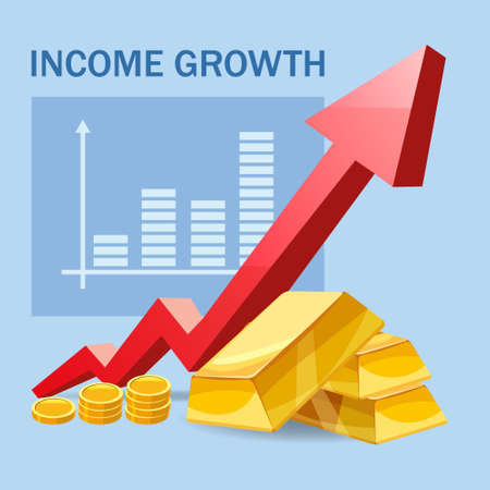 Increase Income Financial Revenue, growth money rate rising up. Arrow up, Gold bars coins fund, concept of business, economic, capital earnings success. Vector 矢量图像