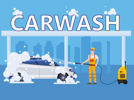 Car Wash center station. Auto Service man worker washing, clean car, foam bubbles. Vector illustration isolated 矢量图像