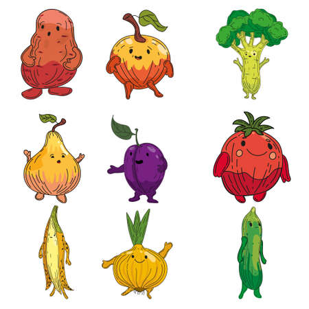 Vegetables set hand drawn scetch characters cartoon. Collection potato, onion, plum, pear, cucmber, onion, banana 矢量图像