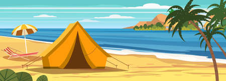 Summer vacation. Tourist tent camping on the tropical beach, palms. Coastline beach sea, ocean, travel 矢量图像