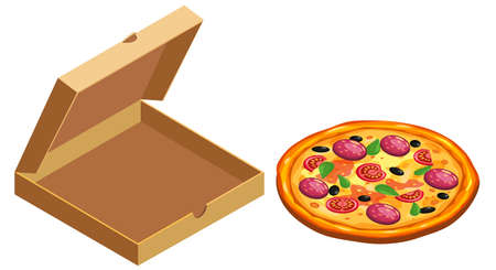 Pizza and box cardboard package open, isometric. Package template, delivery, flat design. Vector 矢量图像