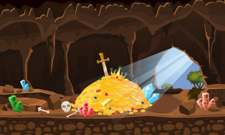 Treasure cave, gold pile, coins, gems, crown, sword, crystals. Concept art for game, apps. Background cartoon style