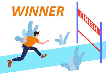 Running athlete man run to Finish Line. Competition marathon, sprint distance race. Vector illustration