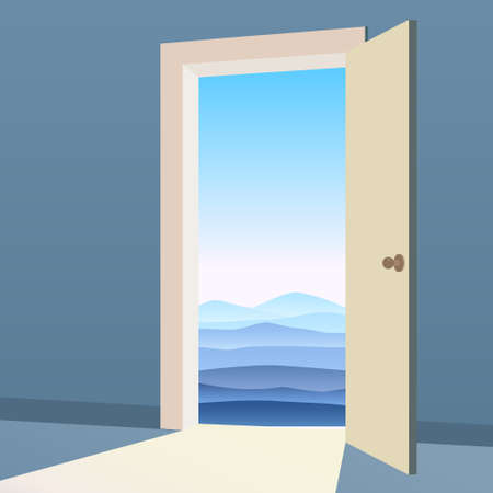 Open Door to nature way. Landscape minimal, symbol freedom, new way exit, discovery, opportunities. Motivation concept to real world. Vector illustration cartoon style poster banner