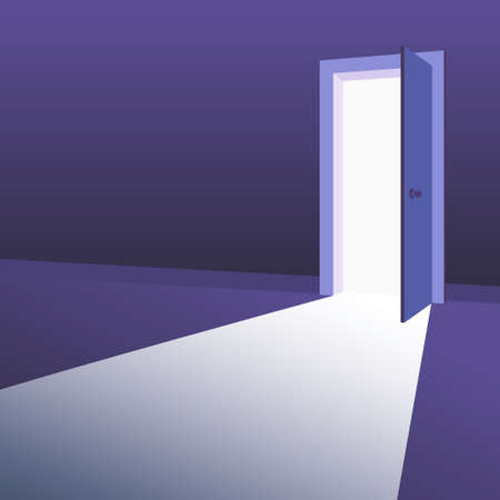 Open Door with light beams going inside dark room. Symbol of new way, exit, discovery, new opportunities. Business motivation concept. Vector illustration 向量圖像