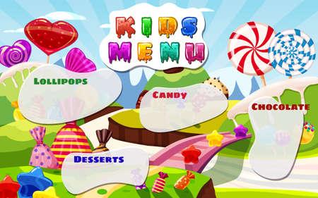 Kids Menu, Candy World, sweet different bonbon, lollipops,chocolate, jelly. Template menu for caffe, cafeteris, vector illustration, cartoon style 向量圖像