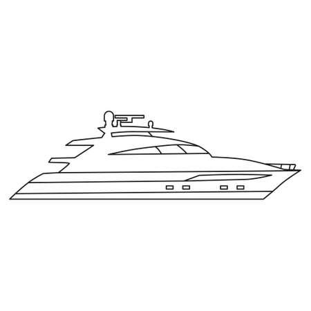 Speedboat line icon logo design marine, ship, vessel, side view. Vector illustration outline simple element symbol Logo