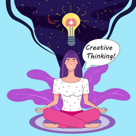 Girl with bulb, idea. Creative Thinking Yoga girl. Solution to a problem. Positive thinking, creative idea thought process. Vector illustration cartoon flat banner poster 向量圖像