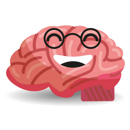 Brain with glasses smiling, cute positive character . Vector flat cartoon style isolated