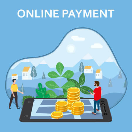 Online payment, internet money transfer. Man buyer, smartphone, stacks coins, isometric. Concept mobile Commerce, shopping online illustration