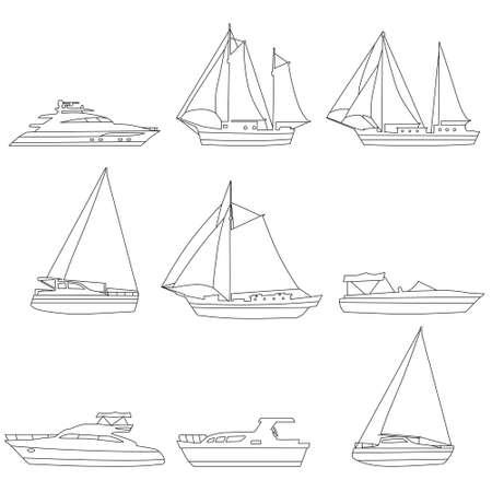 Set boats, speedboat, sailboat, vessel, yacht, icons . Vector ship and motor boats, line art editable stroke, illustration 向量圖像
