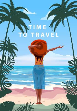 Woman on seaside resort in beachwear red hat enjoying rest. Time to travel vacation tropical palms exotic flora, sea, ocean. Vector illustration retro, vintage