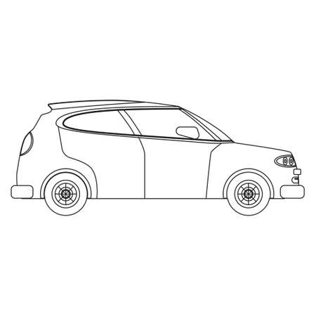 Hatchback car outline drawing, concept lineart. Automobile transport illustration side view, vector isolated