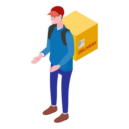 Courier with box, front view. Delivery Service Isometric concept. Fast 24 7 shipping, online food order template banner. Vector illustration 3d isolated