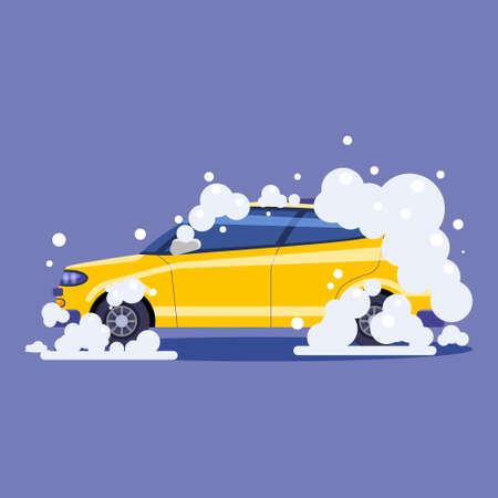 Car in bubbles. Auto Service washing, clean car. Vector illustration isolated 向量圖像