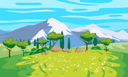 Landscape scenery view, mountains, green meadow, flowers, trees. Rural nature, travel through countryside. Vector illustration