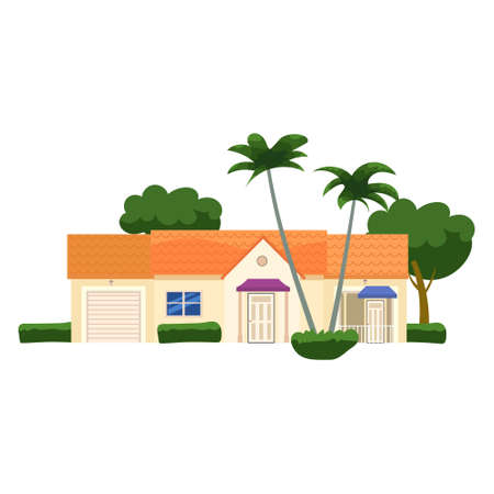 Residential Home Building, tropic trees, palms. House exterior facades front view architecture family cottage house or mansion. Suburban property