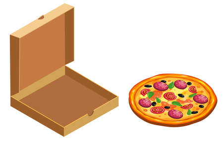 Pizza and box cardboard package open, isometric. Package template, delivery, flat design. Vector 向量圖像