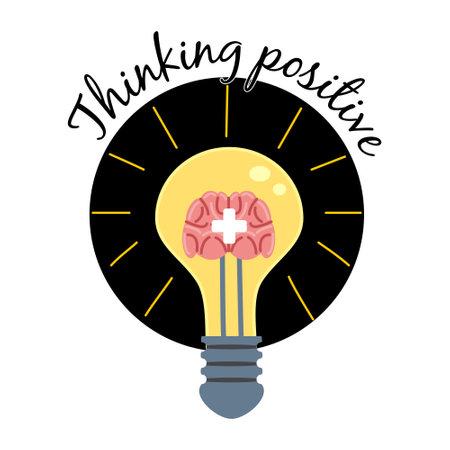 Light bulb with human brain plus symbol . Positive thinking, creative idea, mind, solution concept. Vector illustration cartoon flat 向量圖像