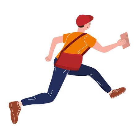 Postman running with bag delivering letter in envelope. Mailman in cap carrying mail, delivery service. Vector illustration 向量圖像