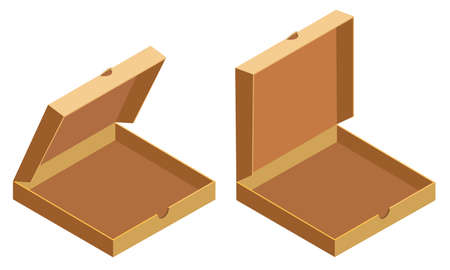 Pizza isometric open cardboard boxes, delivery. Package template, flat design. Vector