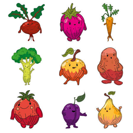 Vegetables set hand drawn sketch characters cartoon. Collection beet root, strawberry, carrot, broccoli, apple, potato, tomato, onion, plum, pear