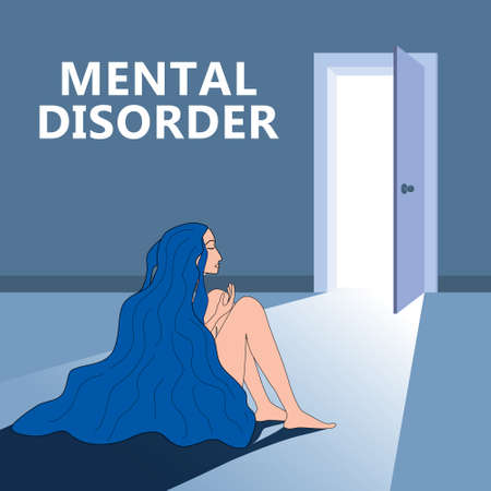 Mental disorder woman sitting hugging knees, open door as a symbol of a way out. Depression, confused, in stressful situation, psychological problem shame. Stress, anxiety, fatigue. Vector illustration 向量圖像