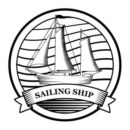 Sailing Ship  vintage emblem. Old retro vector illustration marine navy icon 向量圖像