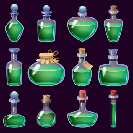 Set of Bottles liquid potion magic elixir colorful . Game icon GUI for app games user interface. Vector illustration isolated cartoon style on black background