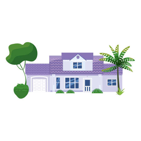 Mansion Residential Home Building, tropic trees, palms. House exterior facades front view architecture family cottage house or apartments, villa. Suburban property 向量圖像