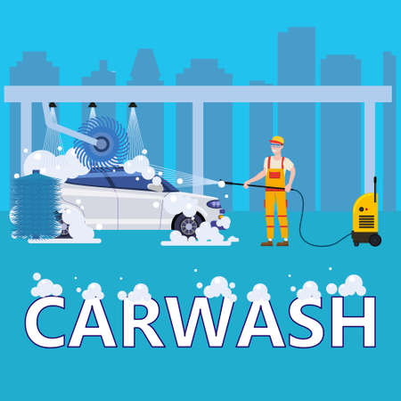 Car Washing Auto center station. Service man worker washing, clean car, foam bubbles. Vector illustration isolated