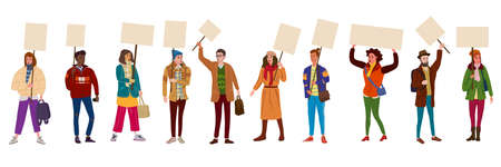 Collection of Protesters crowd man and woman holding empty banners. Activists protesting, political meeting, strike human rights. Vector illustration isolated