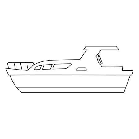 Boat line icon   design marines, speedboat, ship, vessel, side view. Vector illustration outline simple element symbol