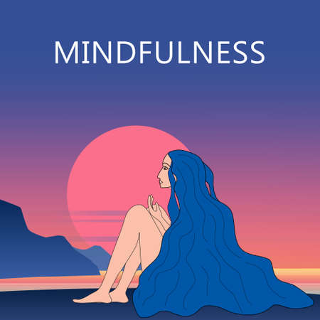 Young beautiful mindfulness woman dreaming at the ocean coast sunset. Enjoy summer vacation positive thinking mindset, meditation. Seaside tropical view banner poster flat illustration 向量圖像