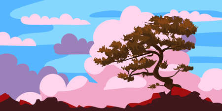 Sunset tree silhouette on a cliff, clouds after rain. Landscape evening panorama horizon, color, distance. Vector illustration cartoon style background