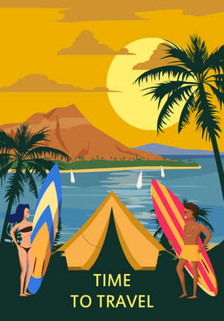 Time to travel. Surfers with boards and a beach tent are relaxing on the coast. Surfing man and woman travel to exotic resorts, palm trees, island, tropical. Vector, illustration