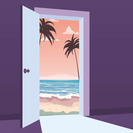 Open Door to nature way. Landscape sea, ocean, island, tropical, palms, symbol freedom, vacation, travel, new way exit, discovery, opportunities. Motivation concept to real world Vector illustration