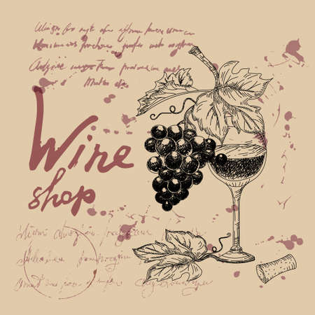 Wine shop products hand drawn sketch. Grapes, wooden barrel, bottles,cheers, glass, vintage style unreadable text. Vector illustration