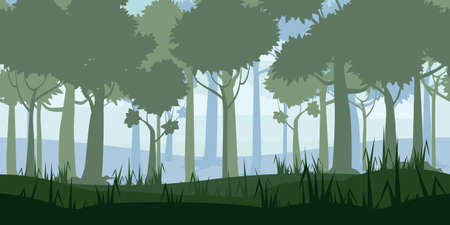 Jungle Tropical Forest landscape horizontal seamless background for games apps, design. Nature woods, trees, bushes, flora, vector 向量圖像