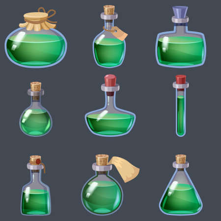 Set of magic Bottles liquid potion fantasy elixir. Game icon GUI for app games user interface. Vector illustration isolated cartoon style on grey background