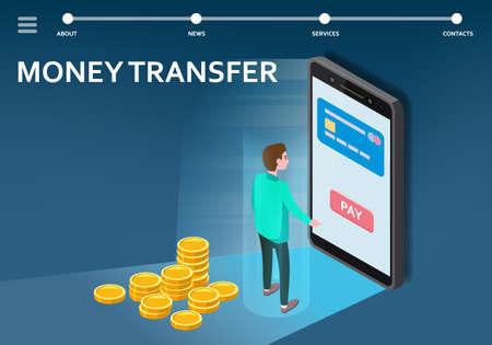 Money transfer internet banking isometric. Man smartphone, stacks coins, money transaction technology, mobile payment e-commerce concept. Vector illustration