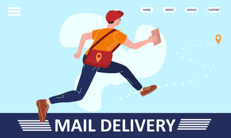 Mail delivery Postman running with bag delivering letter in envelope. Mailman in cap carrying mail, delivery service concept. Vector illustration