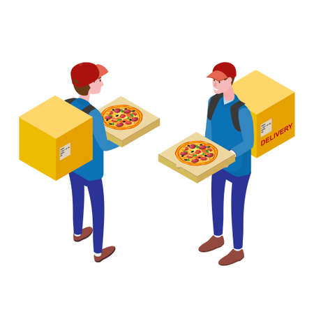 Courier with pizza box, front view, back view. Pizza Delivery Service Isometric concept. Fast 24 7 shipping, online food order template banner. Vector illustration 3d isolated