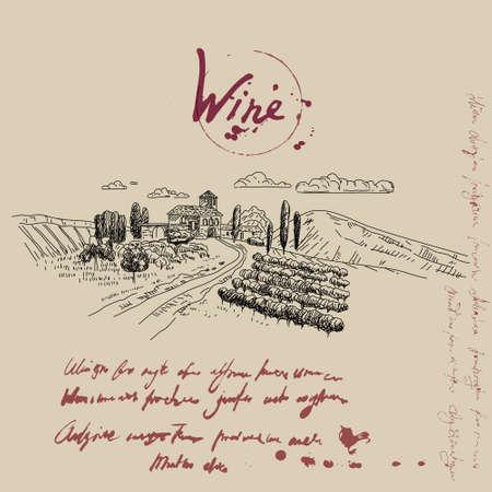 Vineyard landscape hand drawn sketch. Grapes vintage style, unreadable text. Vector illustration 向量圖像