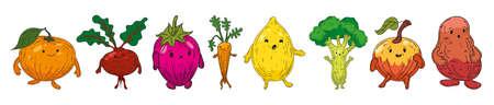 Vegetables set hand drawn sketch characters cartoon. Collection orange, beet root, strawberry, carrot, lemon, broccoli, apple, potato