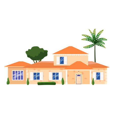 Mansion Residential Home Building, tropic trees, palms. House exterior facades front view architecture family modern contemporary cottage house or apartments, villa. Suburban property