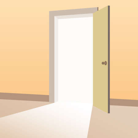 Open Door with light beams going inside room. Symbol of new way, exit, discovery, new opportunities. Business motivation concept. Vector illustration