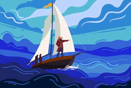 Ship sailboat during a storm with a brave captain sails towards fate. Seascape, ocean, storm, rain, huge waves, dark sky. Vector illustration flat cartoon 向量圖像