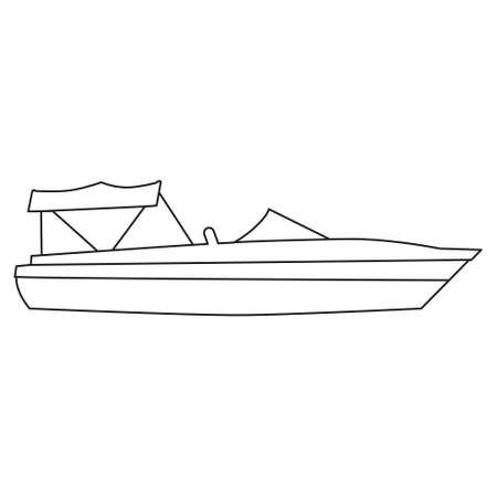 Boat line icon  design marines, speedboat, ship, vessel, side view. Vector illustration outline simple element symbol 向量圖像