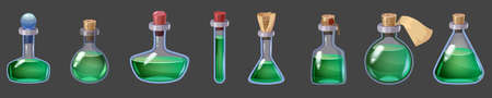 Set of Bottles magic liquid potion fantasy elixir. Game icon GUI for app games user interface. Vector illustration isolated cartoon style on dark background